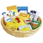 Shop miniatures,food and household goods in a basket